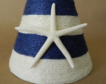 Coastal lampshade etsy jute wrapped navy and white chandelier lampshade with pencil starfish nautical decor custom order only aloadofball Gallery