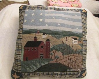 "Warrem Kimble 'America The Beautiful' tapestry finished pillow - measures 17"" x 17"" by Manual Woodworkers and Weavers"