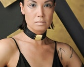 Black Leather Choker with Brass Square