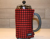 French Press Coffee Cozy in Red and Black small Buffalo Check Flannel French Press Cover in Red and Black Buffalo Plaid Flannel Print