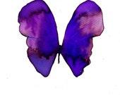 "violet purple butterfly 8 X 10"" original watercolour painting"
