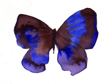 purple blue violet  and brown butterfly original watercolour painting