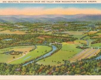 Shenandoah River, Massanutten Mountain, Virginia - Linen Postcard - Unused (M)