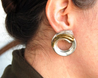Mixed Metal Mexican Earrings Sterling Silver and Brass Modernist Swirl Posts Vintage Taxco Mexico Jewelry Laton