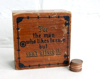Wooden Bank Gag Gift Money Joke Wood Block Paris Maine Fathers Day Antique Typography Office Desk Decor