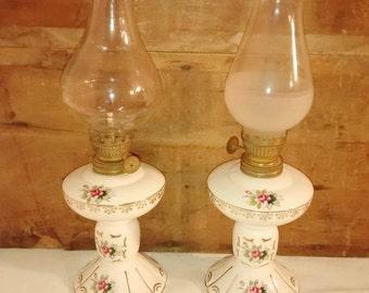 Valentine SALE Vintage Meissen oil lamp pair , Porcelain Oil Lamp , Boudoir Lamps