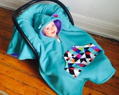 Car Seat Cape Poncho (Teal Purple Triangles) Reversible Kids Hooded Fleece Poncho Cape with ears