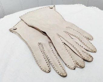 Vintage 1960s Grey/Taupe Ladies' Italian Kidskin Gloves, Brown Stitching