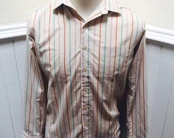 Vintage 1980s Pink, Purple, Blue Stripe Men's Button Down- M/15 1/2