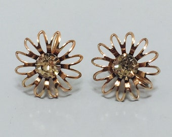 Vintage 1960s Gold Tone & Clear Rhinestone Flower Screw Back Earrings