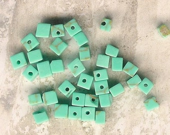 DOLLAR DEAL, Clearance, Green Turquoise Chips, 5mm Stone Cubes, Magnesite Stone, Bargain Deal, Best Deal, Turquoise Beads,Green Stone Chips