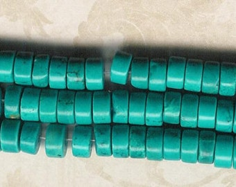 6mm Turquoise Heishee, 8 inch Strand, 6mm x 3mm Turquoise Flat Rondell, Stone Beads, Turquoise Heishe, Flat Turquoise Spacer Stone Beads