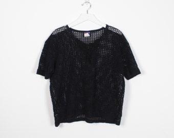Vintage 80s Tshirt Sheer Black MESH Shirt Unlined 1980s Tshirt Boxy Crochet Netting Macrame Beach Cover Up Top New Wave T Shirt M L Large