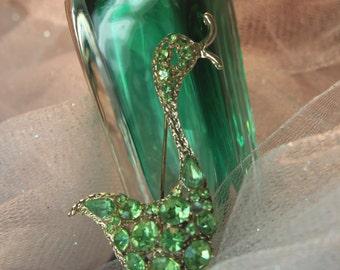 Vintage Figural Rhinestone Duck Austrian Crystal Brooch, Peridot Rhinestone Bird Pin, Flower Girl Gift