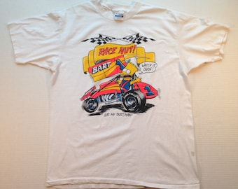 Late 80's, early 90's Bootleg Bart Simpson t-shirt, Race Nut, fits like a large