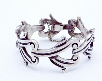 Vintage 1950s Taxco Mexico Mexican Sterling Silver Heavy Bracelet 21778
