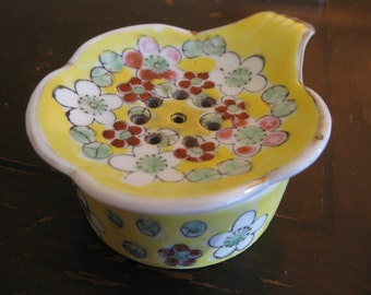 Porcelain Tea Strainer with Bowl Yellow Painted Floral 2 pieces