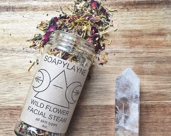 FACIAL STEAM, wild flower facial steam 4oz. vegan detox