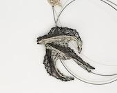 Sparrow necklace Sparrow jewelry Wire sculpture art necklace Unique necklaces for women Wire art jewelry Pendant necklace Bird necklace art