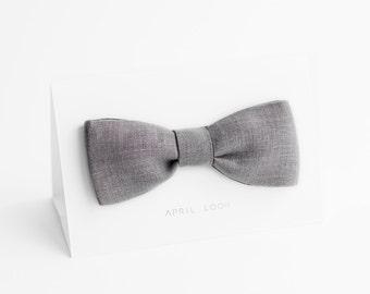 Grey bow tie, linen bow tie