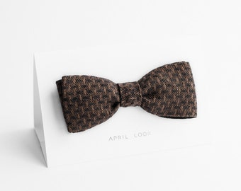 Brown linen bow tie, brown polka dot bow tie - double sided