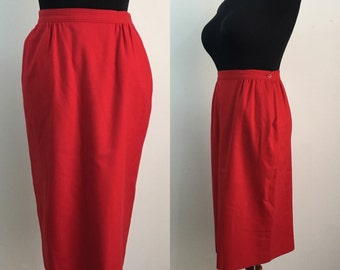 Classic Red Wool Pin Up Wiggle Pencil Skirt
