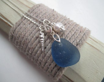 Sea Glass Sterling Silver Cluster Necklace