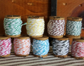 Wood Spools of Bakers Twine - Select Your Color