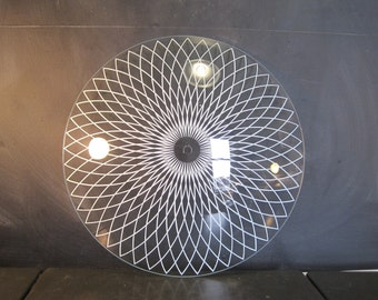 Large Round Mid Century Glass Ceiling Light Fixture Shade Diffuser Sun Sunburst