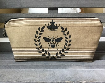 Rustic Queen Bee Striped Fabric Makeup Bag Cosmetic Bag Enter Coupon Code SALE50 and Save 50%