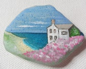 Cornwall cottage by the sea - Original miniature painting on English sea glass