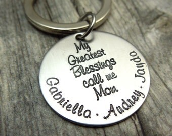 My greatest blessings call me mom engraved stainless steel keychain, mothers day, gift