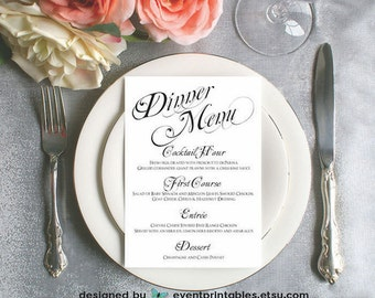 Printable Menu Card, Wedding Reception Dinner Menu, Black & White Classic Calligraphy, Menu Board, Digital File by Event Printables