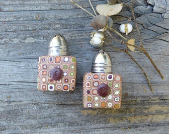 Salt and Pepper Shakers, 1 inch square polymer clay salt and pepper