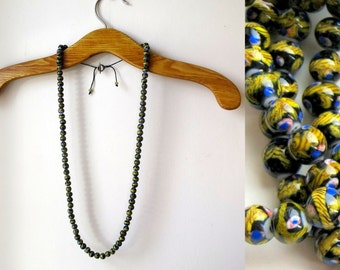 Long necklace in mustard, black and cobalt | long string of glass beads