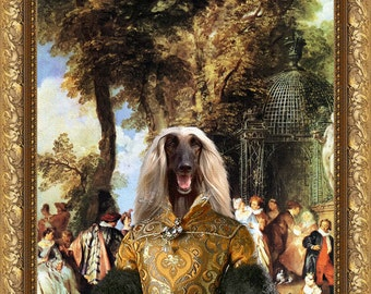 Afghan Hound Art Print Canvas Portrait Gift for Her Gift for Him by Nobility Dogs