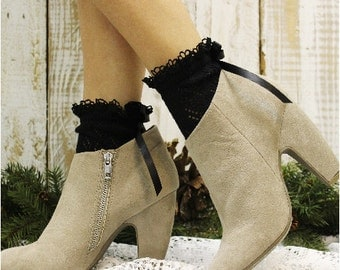 Lace socks for heels | PARIS Peek a BOW | Black crochet knit lace  socks | lace ankle socks | heels baby doll lace socks Catherine Cole  CS5