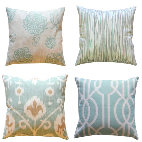 Decorative Pillows Magnolia Spa Blue by ModernalityHomeDecor