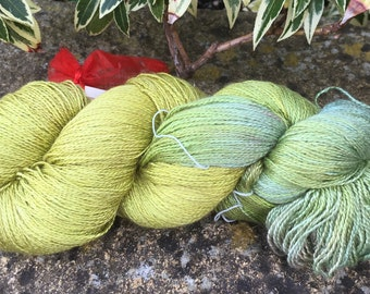"""Laceweight weight silk/baby camel  yarn """"Lime aide """""""
