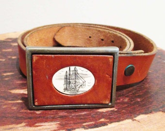 Vintage Men's Belt | Chestnut Leather Belt with Nautical Belt Buckle