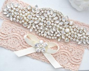 BLUSH Crystal pearl Wedding Garter Set, Stretch Lace Garter, Rhinestone Crystal Bridal Garters