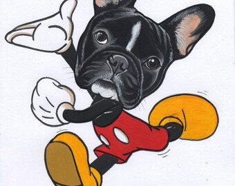 Original French Bulldog  Illustration / Acrylic Paint on Paper