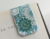 Laminated Magnetic Bookmark Bookprint Typeprint Blue Flowers Newsprint White Cobalt Student Teacher School Education Gift Christmas