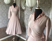 Vintage 1950's Pink Sweater and Skirt Set with Rhinestones and Beading XXS/XS