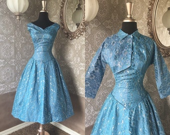 Vintage 1950's Blue and Silver Lace Drop Waist Dress with Matching Bolero XS