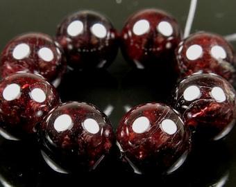 Dark Wine Red Garnet Round Bead  - 9.7 - 9.8mm - 8 Pieces - B4197