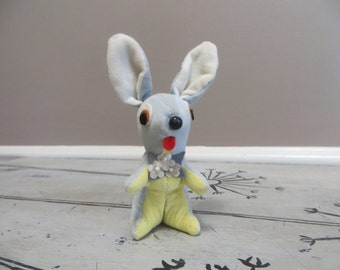 Dakin Dream Pets Bunny Rabbit Miniature Bunny Easter Bunny Blue Dream Dolls 1960s Stuffed Animal Mod Toys Velvet Poodle Mod Kitschy Decor