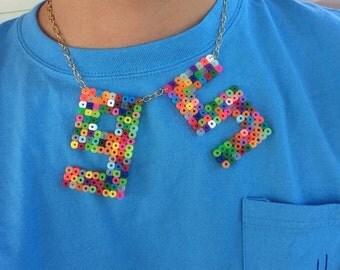 1995 Handmade Statement Perler Bead Necklace