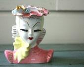 Vintage Lady Head Vase, Porcelain Woman Vase, Barbara Vase