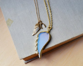 Gold Opalite Colored Wing Necklace Set